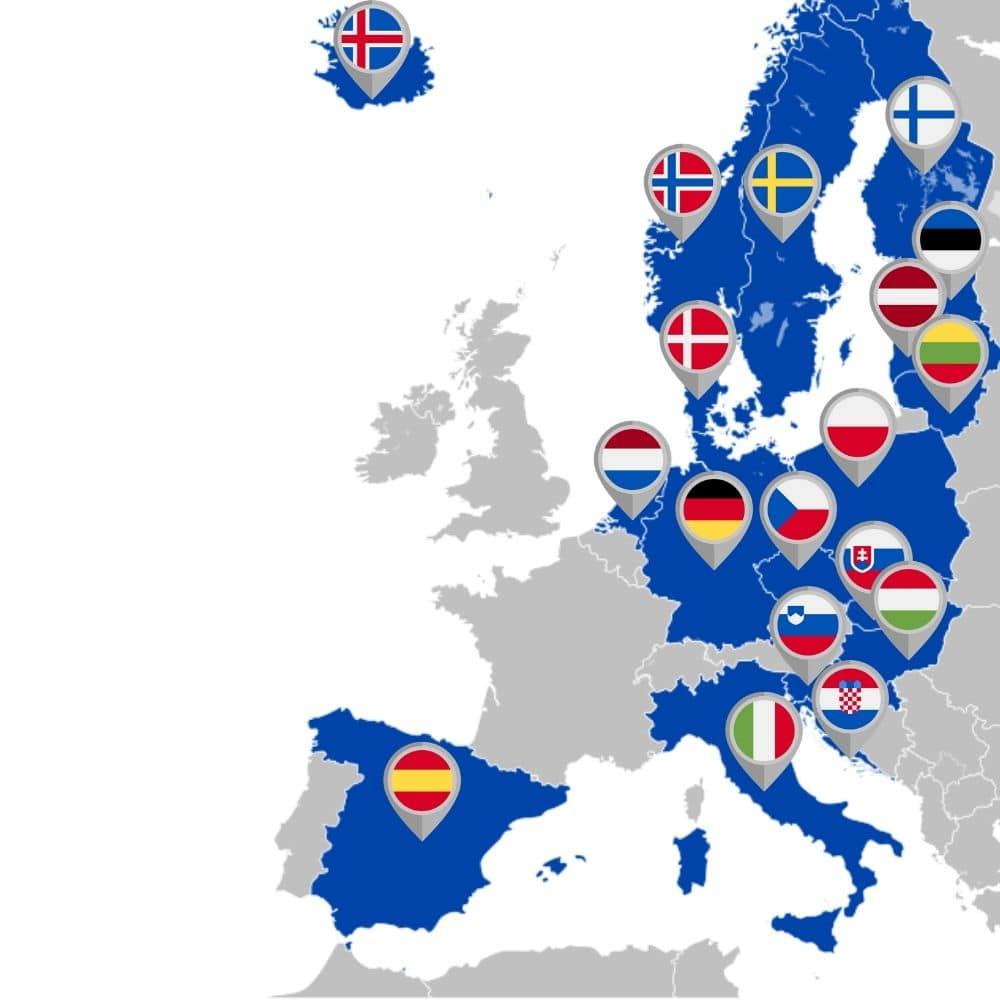 Mapa países EuroJackpot