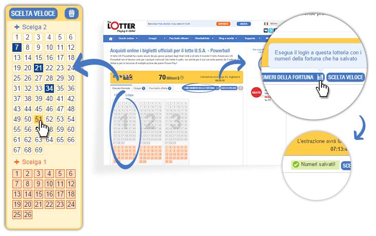 Come posso specificare i miei numeri della fortuna?
