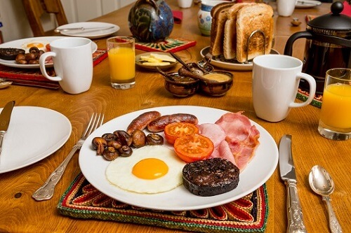 A full English breakfast in Scotland
