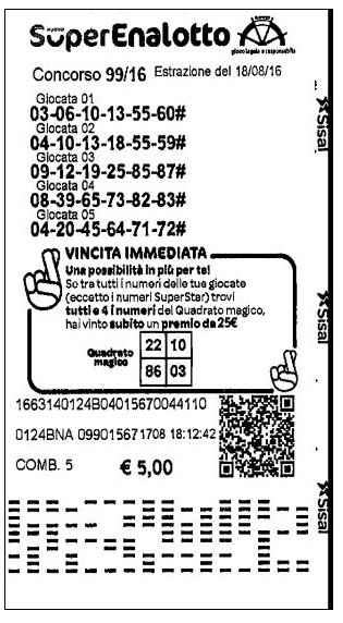 Belgian SuperEnalotto Ticket