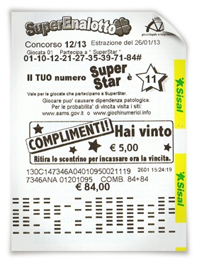 SuperEnalotto SuperStar Winning Ticket