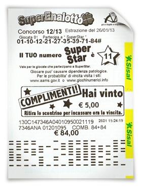SuperEnalotto SuperStar Winning Ticket