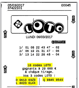 Ticket de Loto avec Codes Tombola