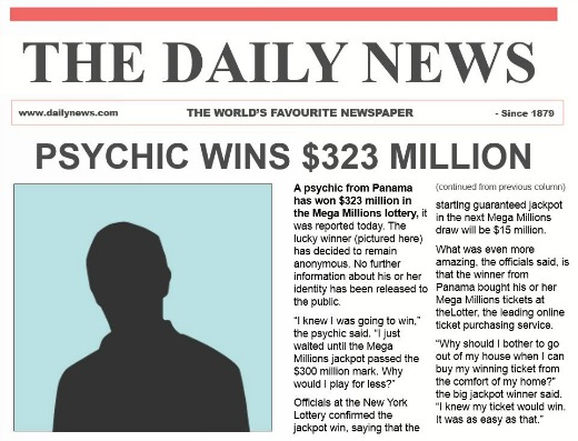 psychic wins lottery!