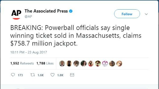 Second highest US Powerball jackpot ever