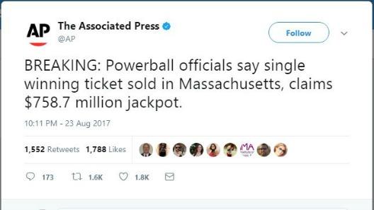 Uno de los premios mayores más grandes de la historia del Powerball
