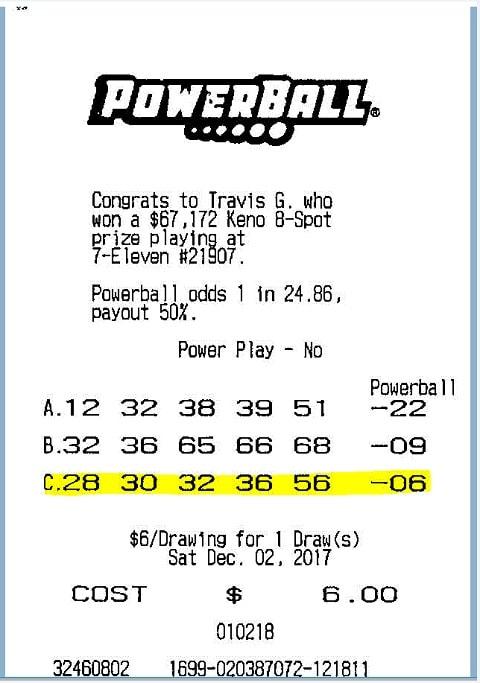 Natalia's winning Powerball ticket
