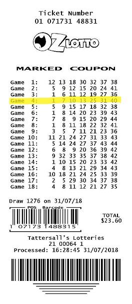 ตัวเลขใน Oz Lotto งวดรับทรัพย์