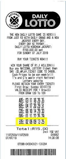 Boleto ganador del Daily Lotto de Sudáfrica