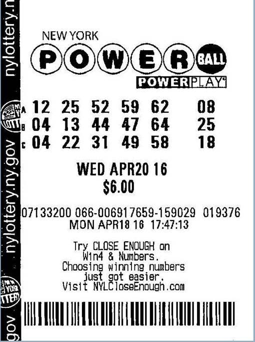 Winning Powerball ticket