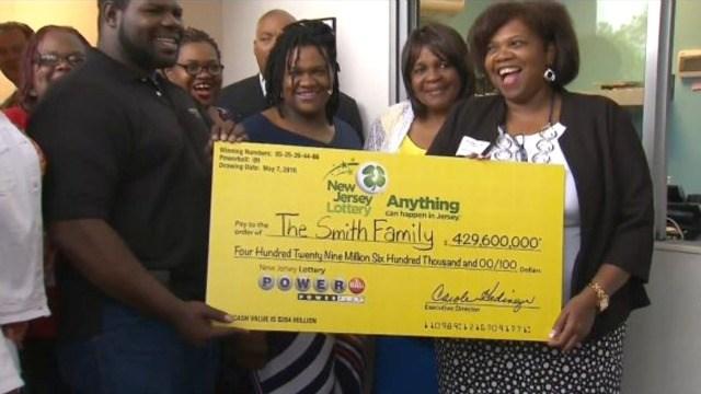 The Smith family wins a $4290 million Powerball prize