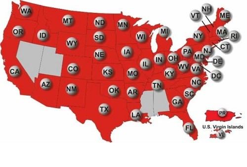 A map depicting all the American states where US Powerball tickets are sold