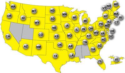 Estados participantes en Mega Millions