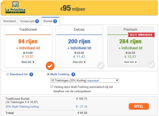 Spaanse La Primitiva loterij jackpot nadert €100 miljoen